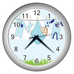 Baby Boy Clothes Line Wall Clocks (silver)  by Nexatart