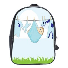 Baby Boy Clothes Line School Bags(large)  by Nexatart