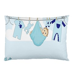 Baby Boy Clothes Line Pillow Case (two Sides) by Nexatart