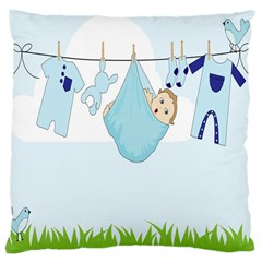 Baby Boy Clothes Line Large Cushion Case (two Sides) by Nexatart