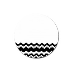 Chevrons Black Pattern Background Magnet 3  (round) by Nexatart