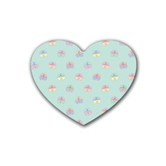 Butterfly Pastel Insect Green Heart Coaster (4 Pack)