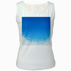 Clouds Illustration Women s White Tank Top