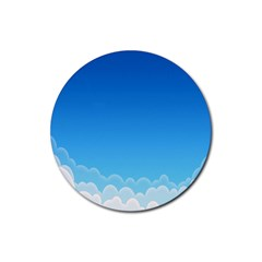 Clouds Illustration Rubber Round Coaster (4 Pack)  by Jojostore