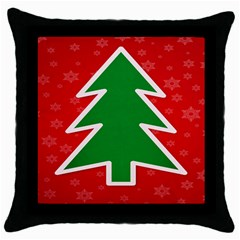 Christmas Tree Throw Pillow Case (black) by Nexatart