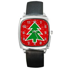 Christmas Tree Square Metal Watch by Nexatart