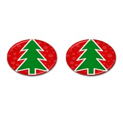 Christmas Tree Cufflinks (oval) by Nexatart