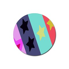 Cool Star Flag Rubber Coaster (round)