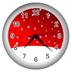 Christmas Background  Wall Clocks (silver)  by Nexatart
