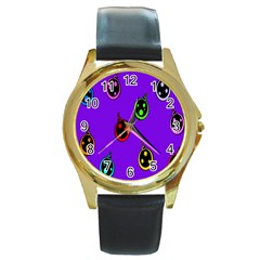 Christmas Baubles Round Gold Metal Watch by Nexatart