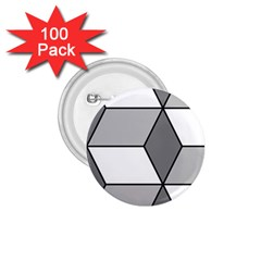 Diamond Cubes Gray 1 75  Buttons (100 Pack)  by Jojostore