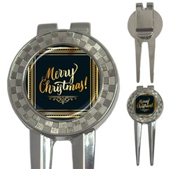 Christmas Gold Black Frame Noble 3 In 1 Golf Divots by Nexatart