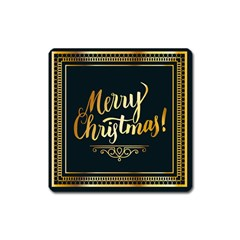 Christmas Gold Black Frame Noble Square Magnet by Nexatart