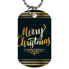 Christmas Gold Black Frame Noble Dog Tag (one Side) by Nexatart