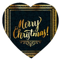 Christmas Gold Black Frame Noble Jigsaw Puzzle (heart)