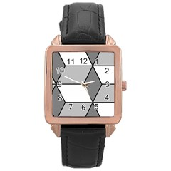 Diamond Cubes Gray Rose Gold Leather Watch