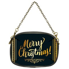 Christmas Gold Black Frame Noble Chain Purses (one Side)  by Nexatart