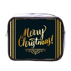 Christmas Gold Black Frame Noble Mini Toiletries Bags by Nexatart