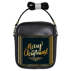 Christmas Gold Black Frame Noble Girls Sling Bags by Nexatart