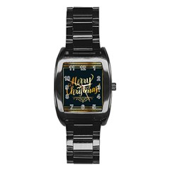 Christmas Gold Black Frame Noble Stainless Steel Barrel Watch by Nexatart