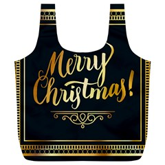 Christmas Gold Black Frame Noble Full Print Recycle Bags (l)  by Nexatart