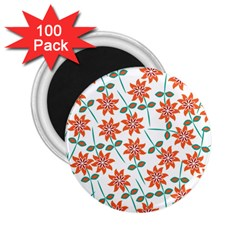 Clipart Floral Seamless Flower Leaf 2 25  Magnets (100 Pack)