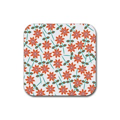 Clipart Floral Seamless Flower Leaf Rubber Square Coaster (4 Pack)  by Jojostore