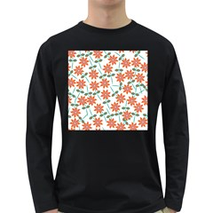 Clipart Floral Seamless Flower Leaf Long Sleeve Dark T Shirts by Jojostore