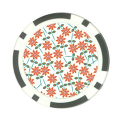 Clipart Floral Seamless Flower Leaf Poker Chip Card Guard by Jojostore