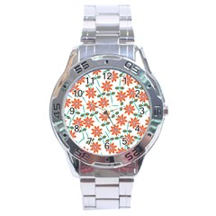 Clipart Floral Seamless Flower Leaf Stainless Steel Analogue Watch by Jojostore