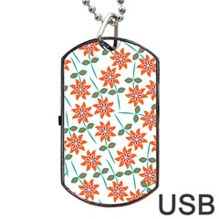 Clipart Floral Seamless Flower Leaf Dog Tag Usb Flash (two Sides)