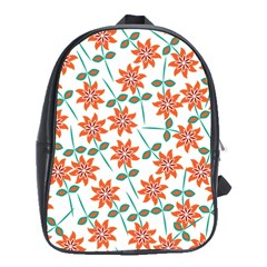 Clipart Floral Seamless Flower Leaf School Bags (xl)