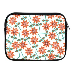 Clipart Floral Seamless Flower Leaf Apple Ipad 2/3/4 Zipper Cases