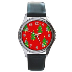 Christmas Trees Round Metal Watch by Nexatart
