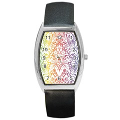 Cool Flower Rainbow Blue Purple Red Orange Yellow Green Barrel Style Metal Watch by Jojostore