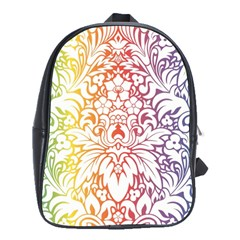 Cool Flower Rainbow Blue Purple Red Orange Yellow Green School Bags(large)