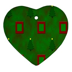 Christmas Trees And Boxes Background Ornament (heart) by Nexatart