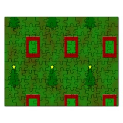 Christmas Trees And Boxes Background Rectangular Jigsaw Puzzl by Nexatart