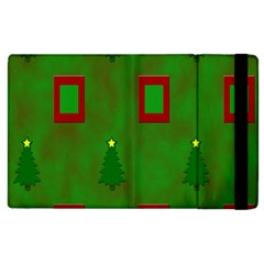 Christmas Trees And Boxes Background Apple Ipad 3/4 Flip Case by Nexatart