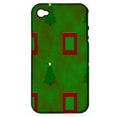 Christmas Trees And Boxes Background Apple Iphone 4/4s Hardshell Case (pc+silicone)
