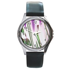 Colored Pattern Round Metal Watch