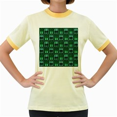 Egyptianpattern Colour Green Women s Fitted Ringer T Shirts