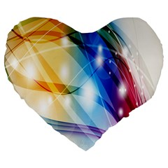 Colour Abstract Large 19  Premium Flano Heart Shape Cushions by Nexatart