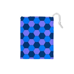 Four Colour Theorem Blue Grey Drawstring Pouches (small)