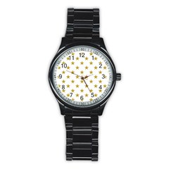 Gold Stars Stainless Steel Round Watch