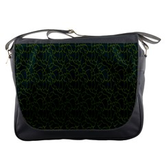 Grid Background Green Messenger Bags