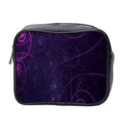 Purple Abstract Spiral Mini Toiletries Bag 2 Side by Jojostore