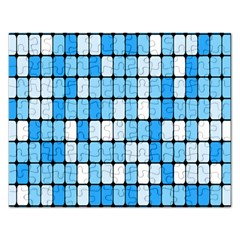 Ronded Square Plaid Blue Rectangular Jigsaw Puzzl by Jojostore