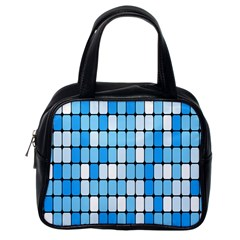 Ronded Square Plaid Blue Classic Handbags (one Side) by Jojostore
