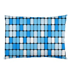 Ronded Square Plaid Blue Pillow Case by Jojostore